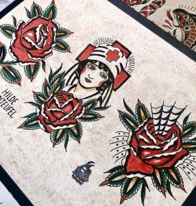 Hilde Neunteufel Tattoo Blume Frau Print