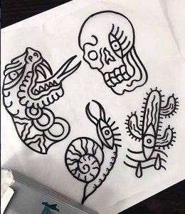 Stefan Skipbrudden Tattoo Motive Lineart